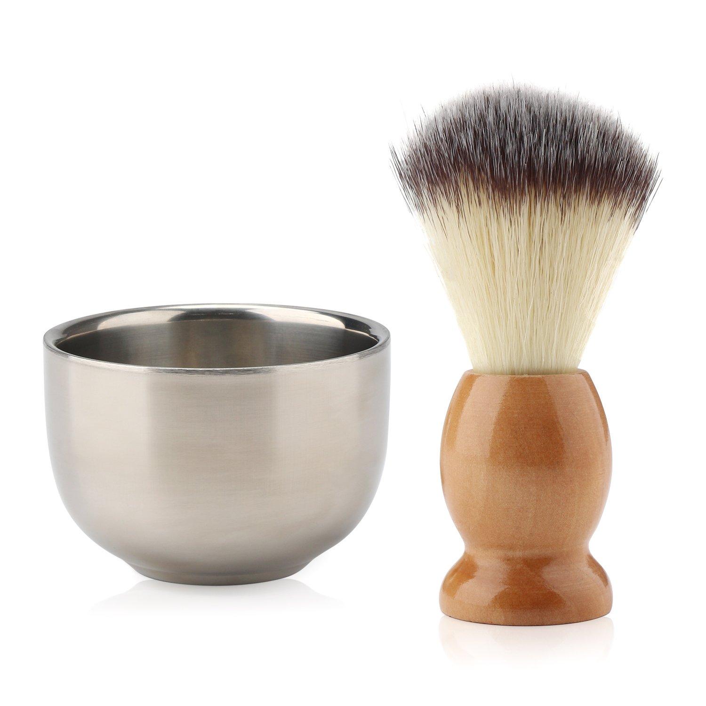 Segbeauty Cepillo de Afeitar de Barba y Cuencos para Jabón, Cerdas de Nylon Cepillo de Mango de Madera Acero Inoxidable Tazón de Crema para Hombres, Kit Tradicional de Afeitado en Húmedo Seg-Beauty