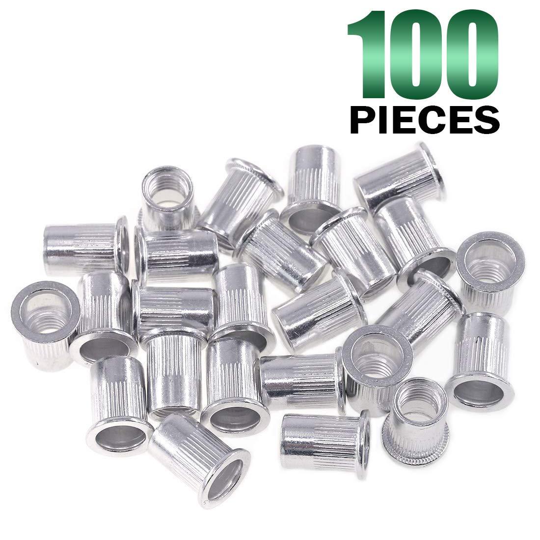 Keadic 100Pcs Aluminum Rivet Nut Metric Flat Head Threaded Insert Nutsert Kit M4