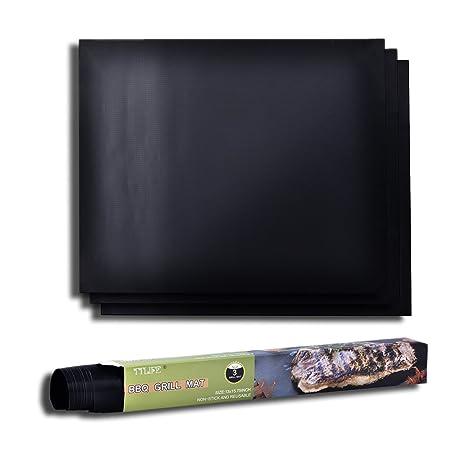 TTLIFE 3 Piezas Láminas Antiadherentes láminas Resistentes al calor para horno, grill, parrilla y barbacoa 15.8x13 (negro)