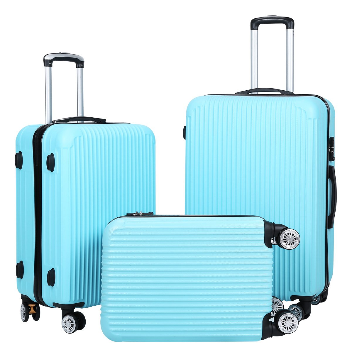 Setory 3 Piece Luggage Set Spinner Hardshell Lightweight Suitcase Set with TSA Lock - Blue