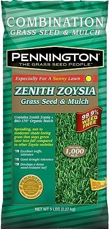 Amazon Com 5 Lb Pennington 1000 Sq Ft Zenith Zoysia Self Spreading Grass Seed And Mulch Garden Outdoor