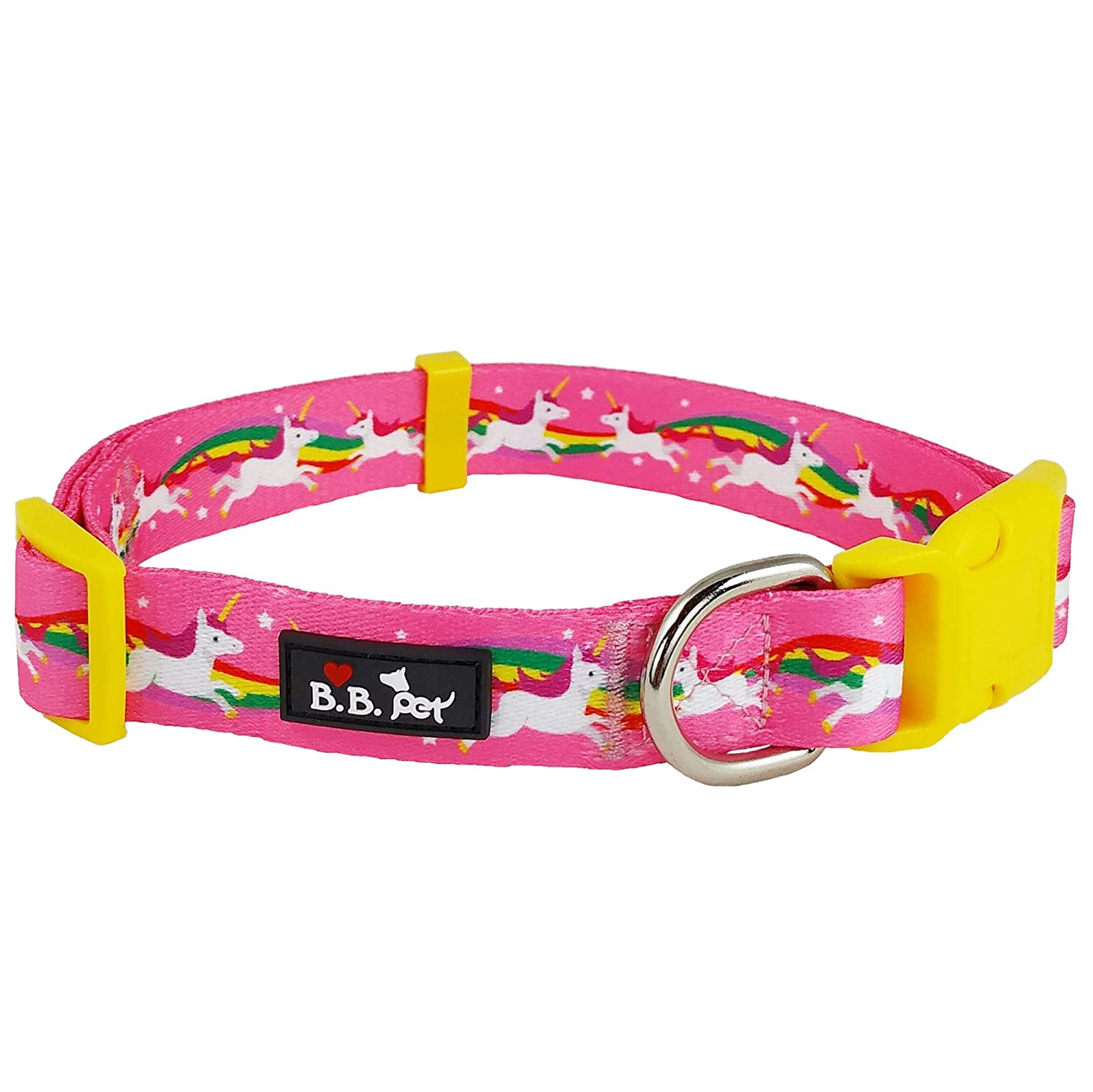 18\ Bestbuddy Pet Unicorn and Rainbow Hot Pink Fairytale Durable Nylon Designer Fashion Dog Collar Trendy Comfortable Adjustable Dog Collar with Buckle BBP002