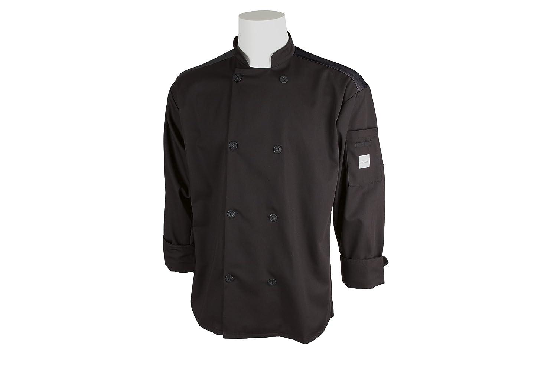 Mercer Culinary M60017BK4X Millennia Air Mens Black Cook Jacket with Full Mesh Back 4XL