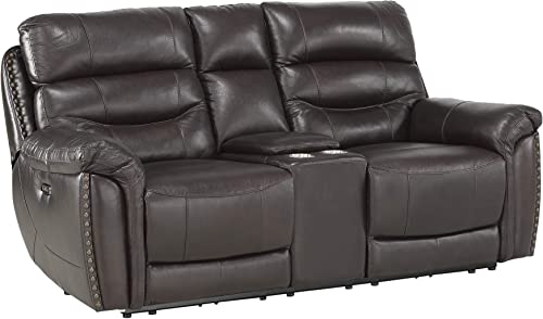 Homelegance 78 Power Double Reclining Loveseat, Brown