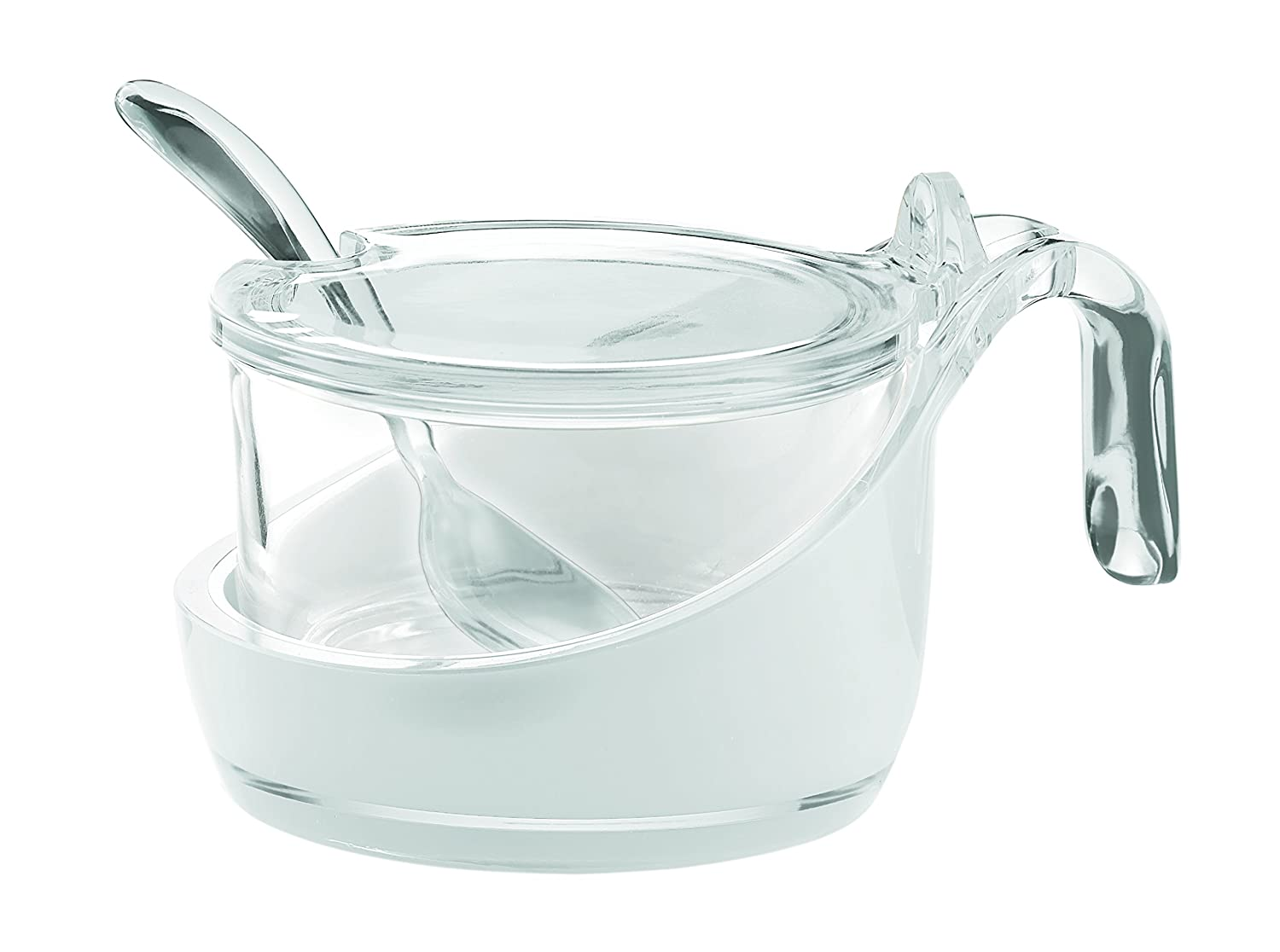 Guzzini Fratelli Vintage, Two-tone parmesan server/preserve jar/sugar bowl with teaspoon, SAN|Glass FRATELLI GUZZINI SPA 24890000