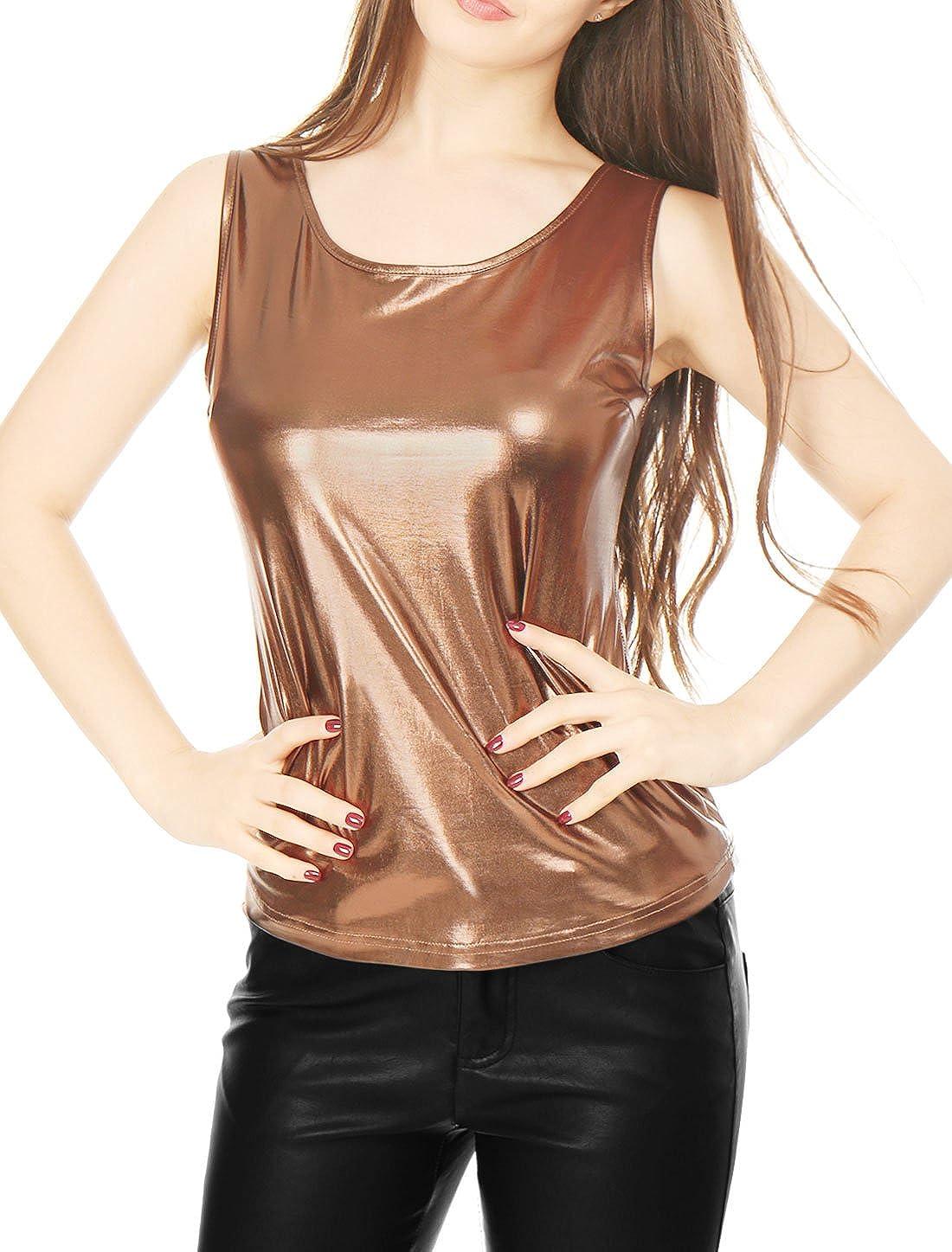 TALLA XL. Allegra K Mujer Camiseta Sin Mangas Estilo Metálico Cuello U Neck Ajustado Día De San Patricio