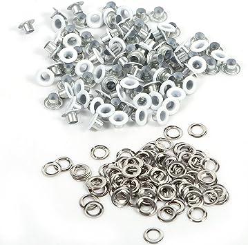 HEEPDD Occhielli passacavo 100 Pezzi Argento Occhielli in Ottone Metallo Solido Antico Riparazione Occhielli Sostituzione con Kit guarnizioni 100 Pezzi 6mm