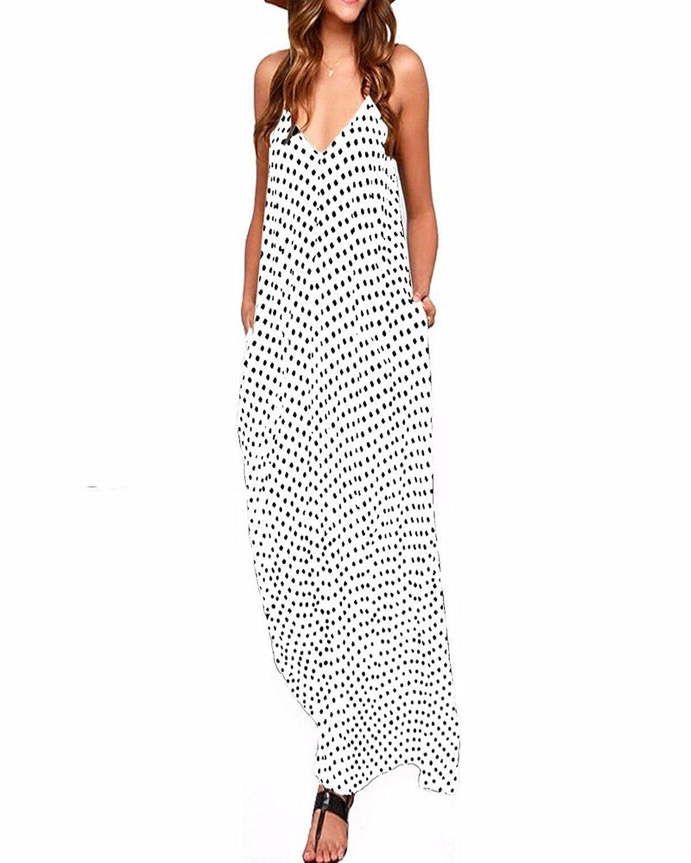TALLA EU 46. ZANZEA Vestido Largo para Mujer Vestido de Playa para Mujer Sexy Vestido de Playa con Boho con Cuello en V Falda de Playa Blanco EU 46