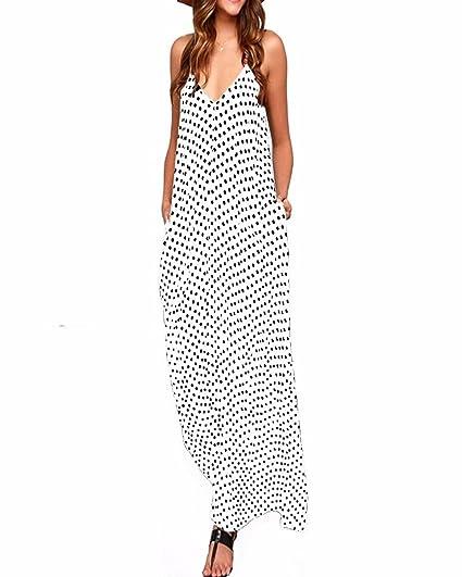 ZANZEA Donna Vestito Lungo Abito Maxi a Pois Casual Largo Elegante Senza  Manica Dress  Amazon.it  Abbigliamento b38cea58a92
