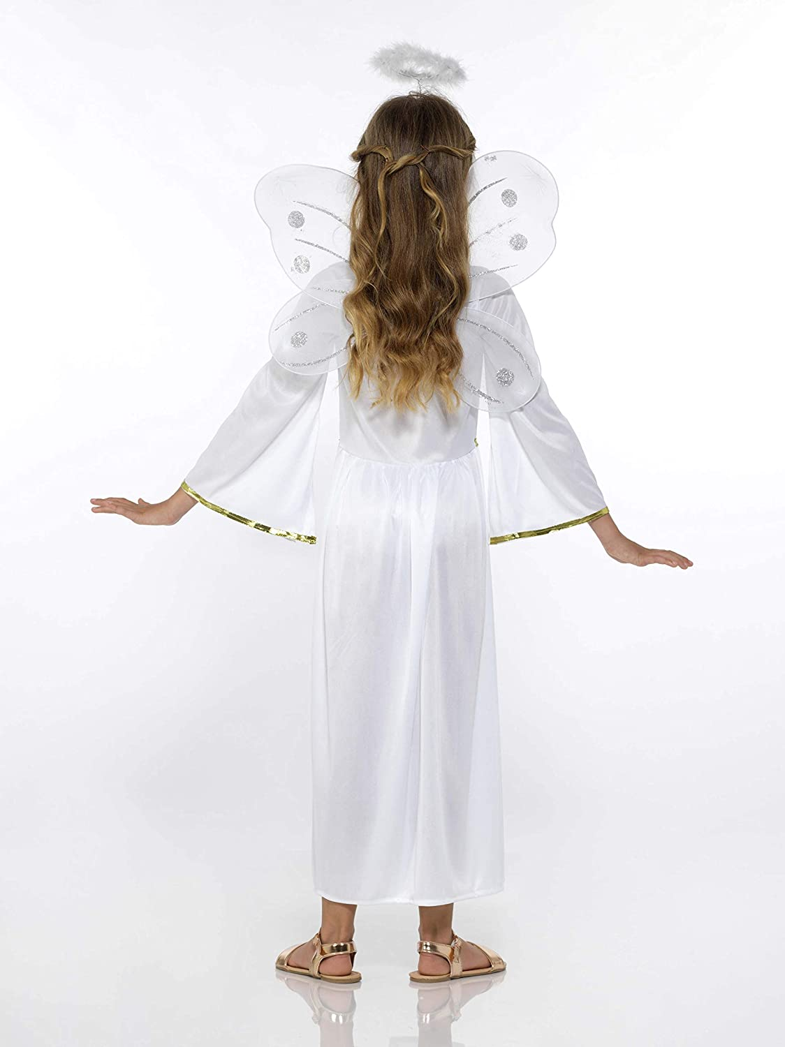 Angel Costume - Halloween Girls Angelic Dress, Halo, Wings, White