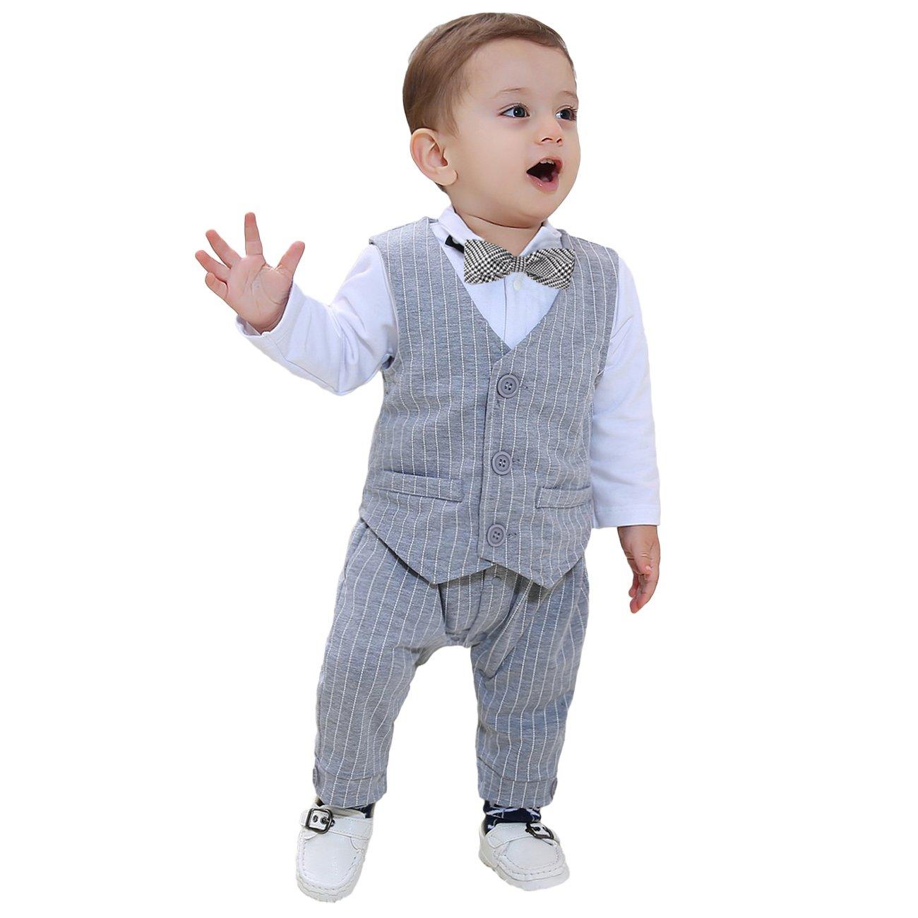 fd63db8d7 Amazon.com  ZOEREA Baby Boy Gentleman Rompers Striped Toddler Suit ...