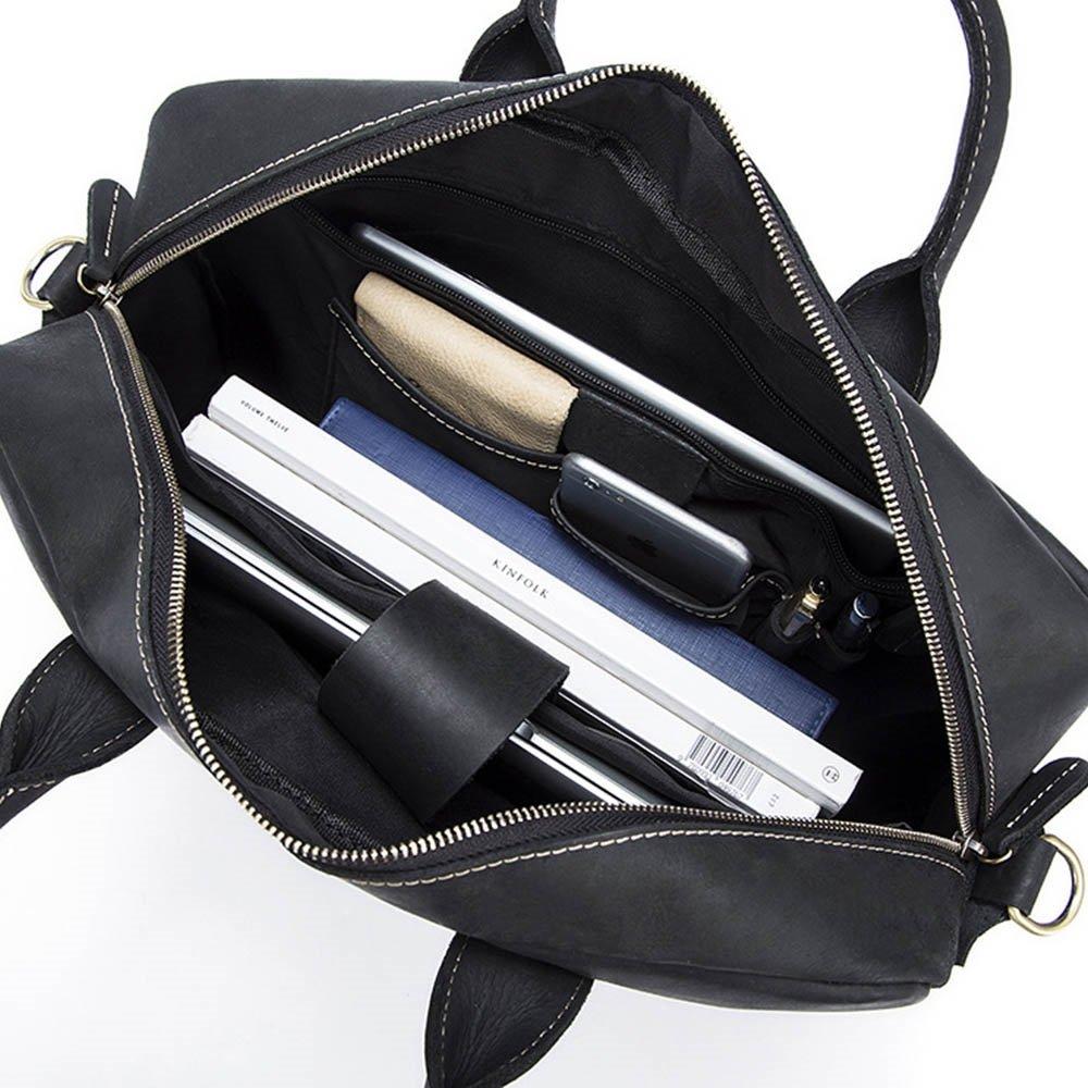 Crazy Horse Leather Shoulder Bag Crossbody Briefcase Business Travel Messenger bag Color : Black