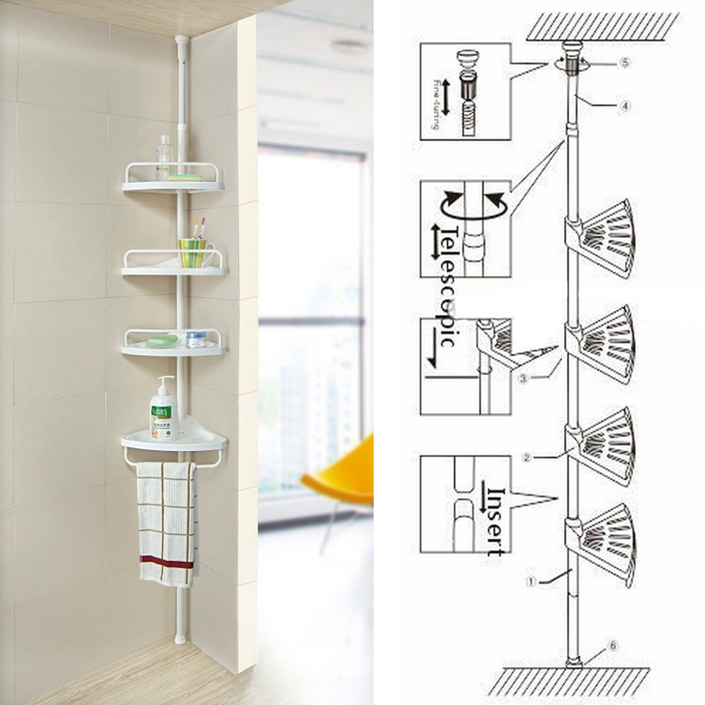 FunkyBuys® WHITE 4 Tier Adjustable 70-240cm Telescopic Shelf Bathroom Organiser Home New SI-079-4TierCornerwhite
