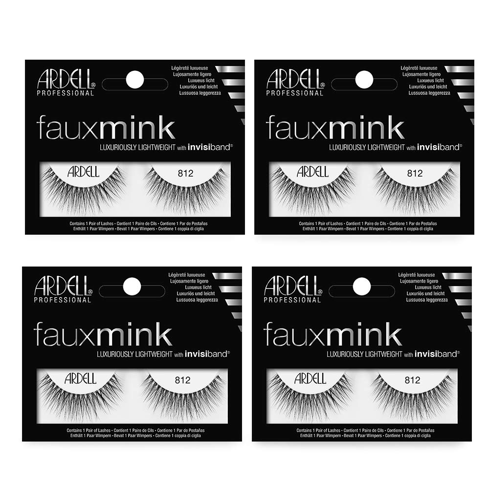 Ardell Faux Mink 812 Black False Lashes, 4 pairs