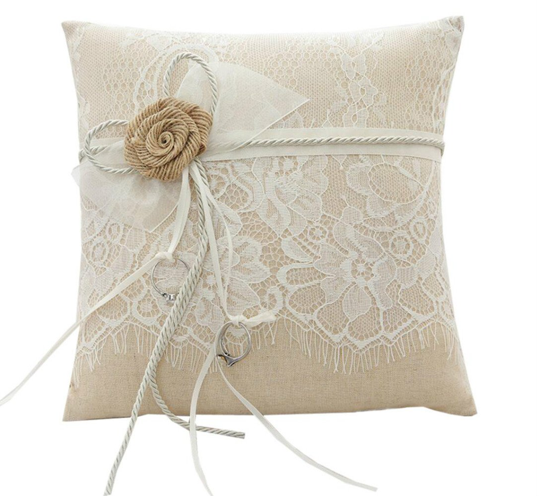 WoodBury Wedding Ring Bearer Pillow Lace Floral Ivory Brown(8 Inch x 8 Inch)