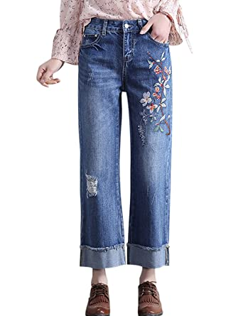 Tanming Women s Floral Embroidered Cropped Wide Leg Jeans Denim Pant  (X-Small eb2d31c26f