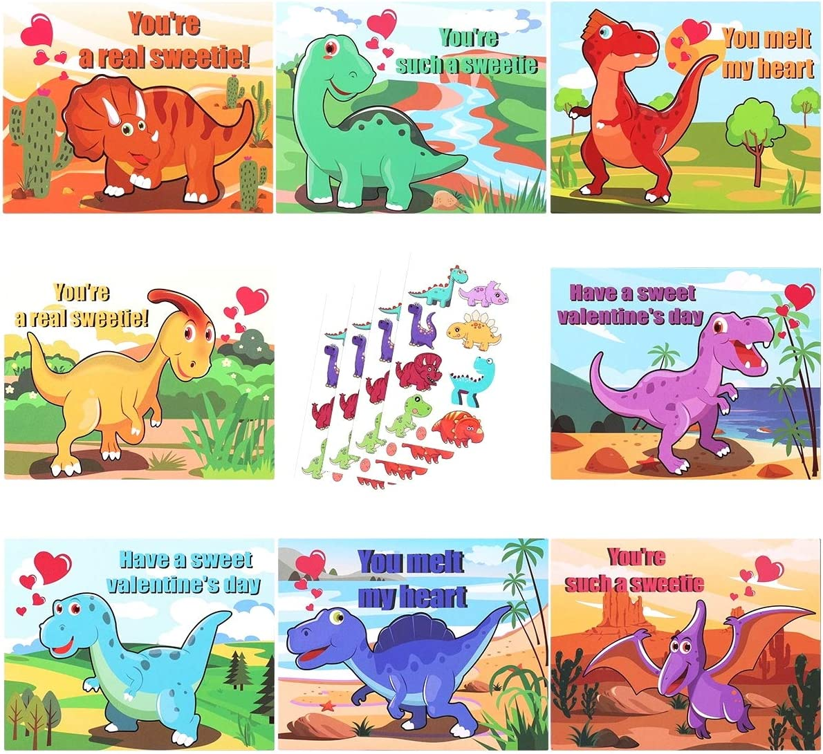 MAOYUE 32 Pcs Valentines Cards for Kids Valentine Cards 8 Patterns Dinosaur Cards with Temporary Tattoos Scratch and Sniff Scents Valentines Day Cards for Kids, Classroom, Envelopes Included