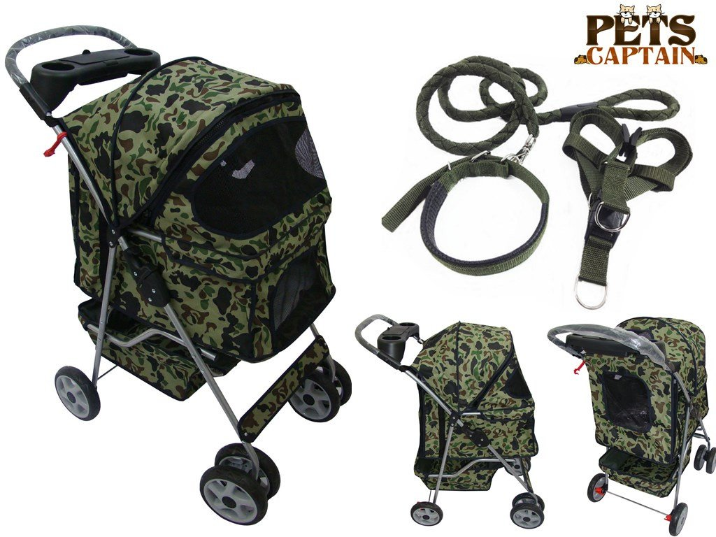 Premium Quality 4-Wheel Pet Carrier Stroller For Cat & Dog By Pets Captain, Mesh Sides & Undercarriage Storage, 2 Cup Holders, Foldable, Bonus Leash, Collar & Harness, Camouflage Pattern, OWS24BL-CAMF