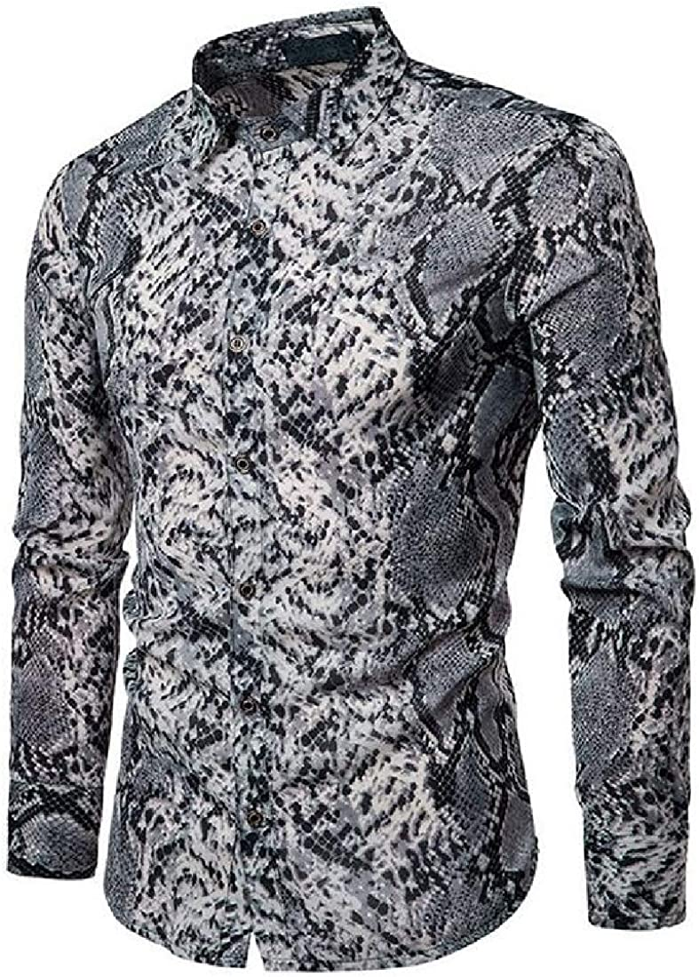 Fubotevic Mens Long Sleeve Slim Casual Floral Print Button Up Dress Work Shirt