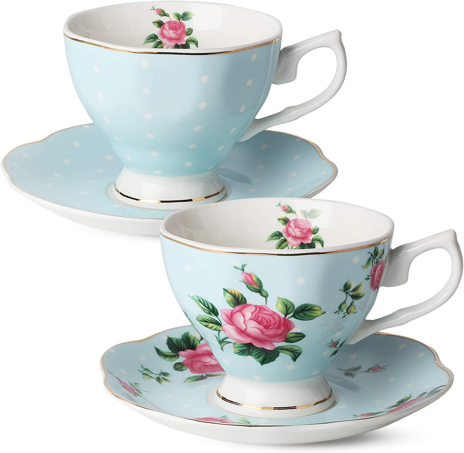 BTaT- Floral Tea Cups and Saucers, Set of 2 (Blue - 8 oz) with Gold Trim and Gift Box, Coffee Cups, Floral Tea Cup Set, British Tea Cups, Bone China Porcelain Tea Set, Tea Sets for Women, Latte Cups
