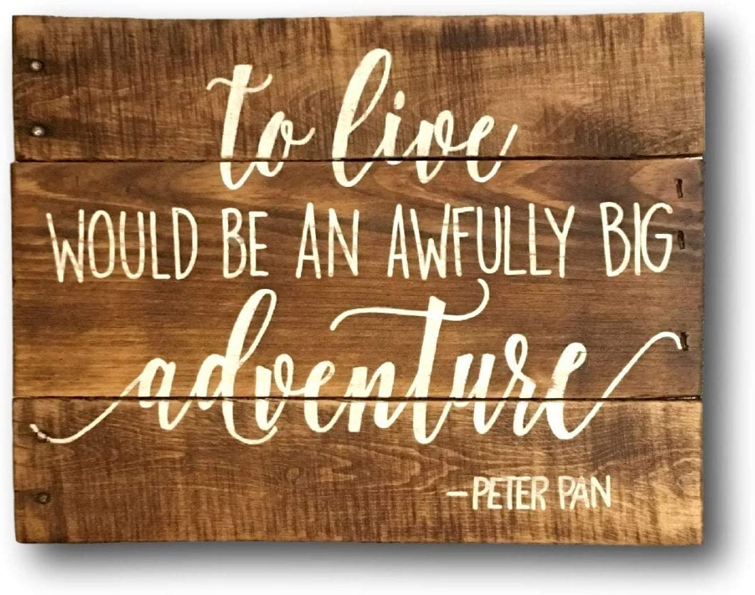 godblessign to Live Would Be an Awfully Big Adventure Wall Hanging Neutral Nursery Decor Adventure Nursery Decor Explorer Nursery Wall Art Wood Hanging Signs Wall Art Decor