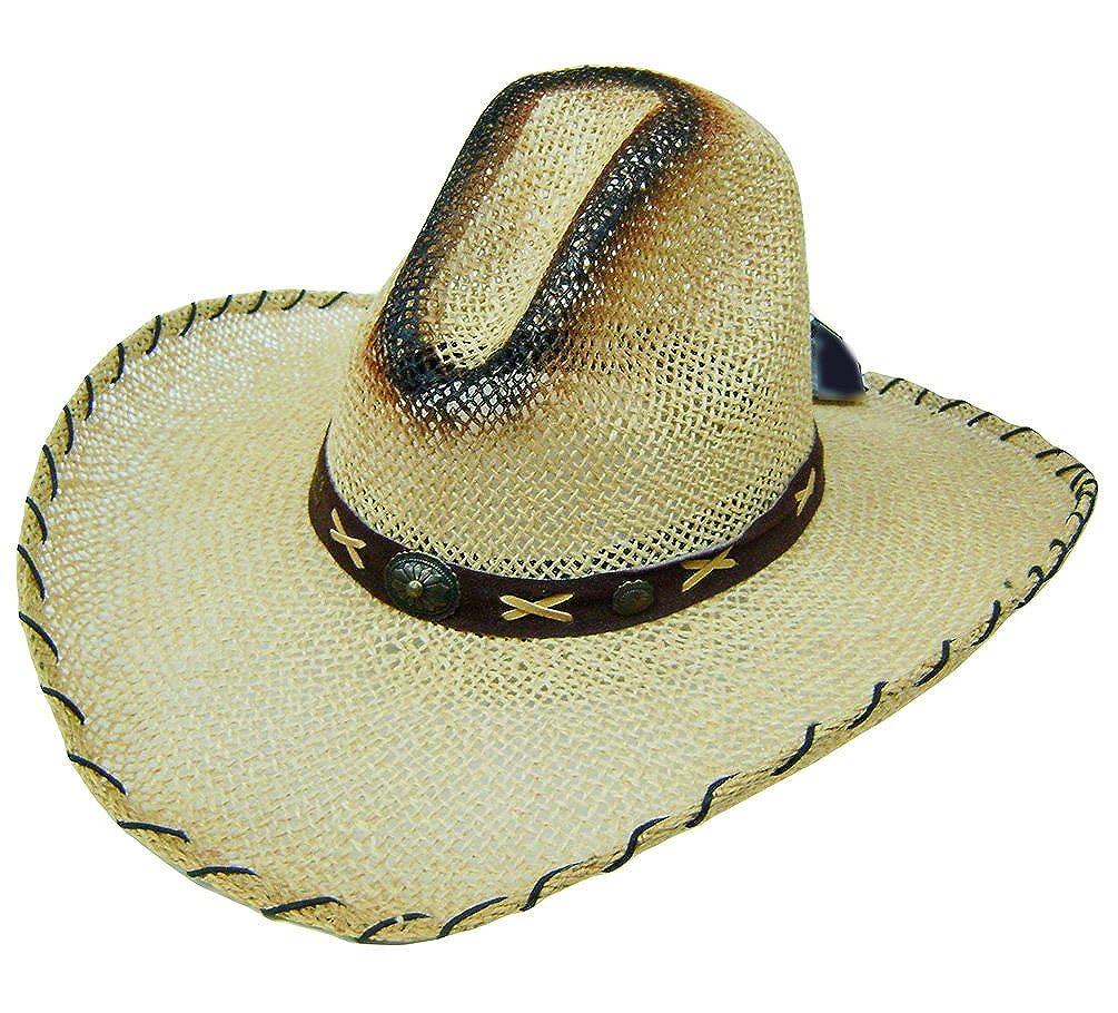 Modestone Unisex Large Brim Straw Cowboy Hat Tan at Amazon Men s Clothing  store  9edcd7022c3