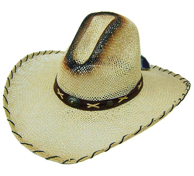 d314c1cc135fd Modestone Unisex Large Brim Straw Cowboy Hat Tan  Amazon.co.uk  Clothing