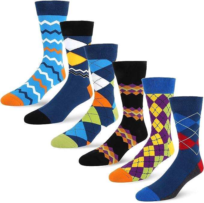 PUTON Men/'s Fun /& Funky Colorful Cotton Dress Socks Assorted 12