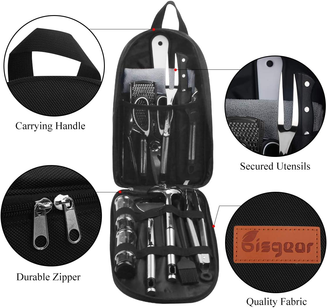 Spork Scissors Tongs Rice Paddle Cutting Board Knife Bisgear Backpacking Camping Cookware Camp Kitchen Utensil BBQ Organizer Travel Mess Kit with Water Resistant Case