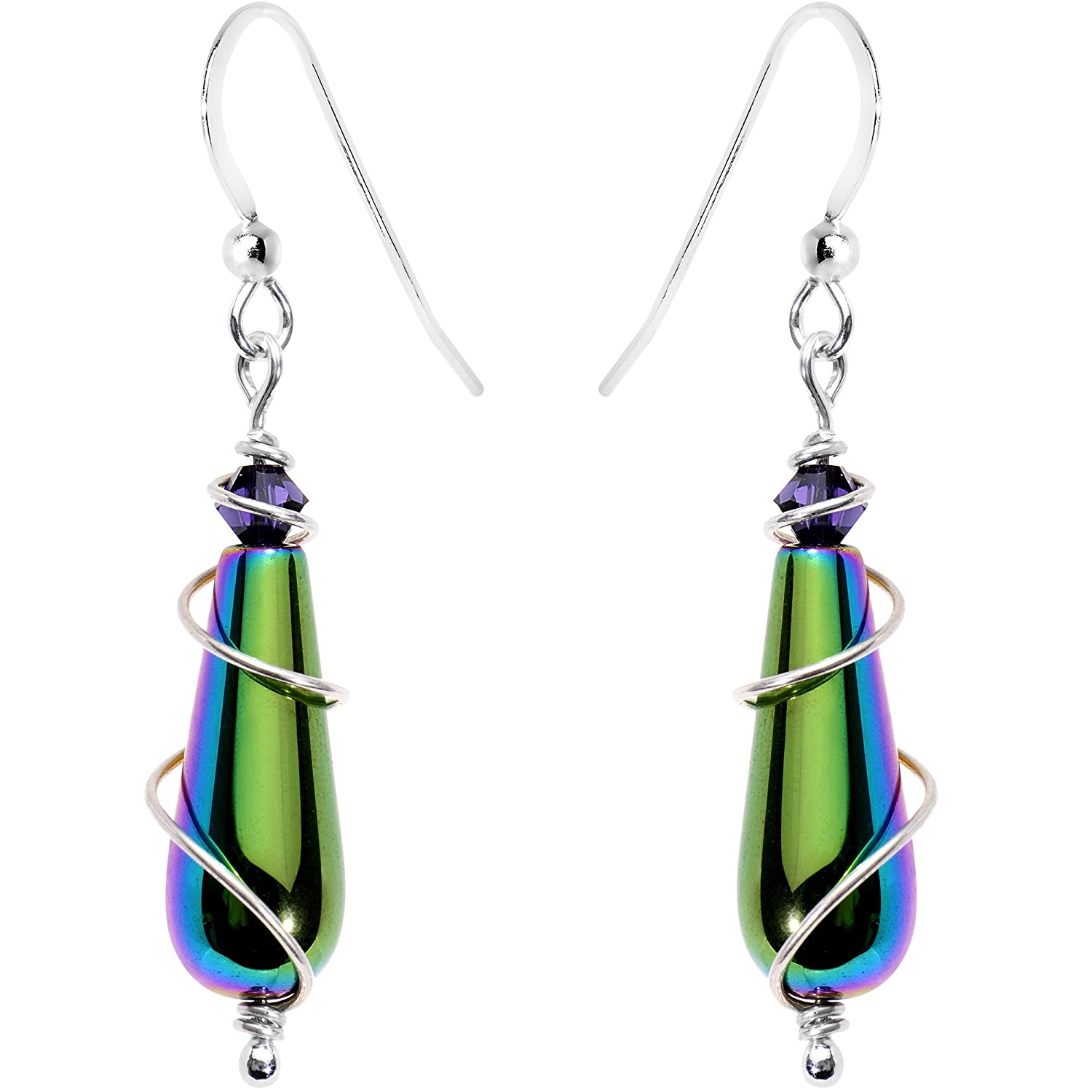 Body Candy Handcrafted 925 Silver Rainbow Drop Earrings Created with Swarovski Crystals