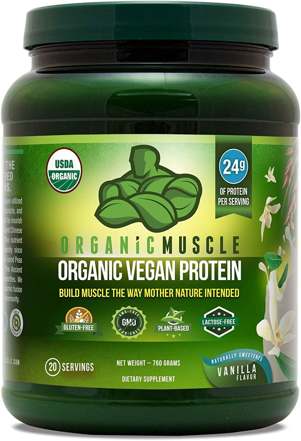 USDA Organic Vegan Protein Powder – Great Tasting Vanilla Flavor W 24g of Protein -100 Organic Plant Based Protein Blend of Pea, Hemp, Rice Protein Chia Seed, Flax Seed -760g – ORGANIC MUSCLE