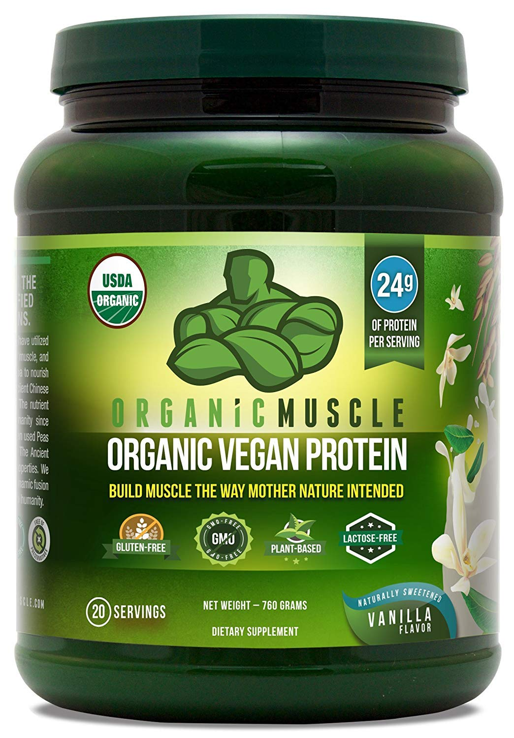 USDA Organic Vegan Protein Powder - Great Tasting Vanilla Flavor W/ 24g of Protein -100% Organic Plant Based Protein Blend of Pea, Hemp, Rice Protein +Chia Seed, Flax Seed -760g - ORGANIC MUSCLE by Organic Muscle