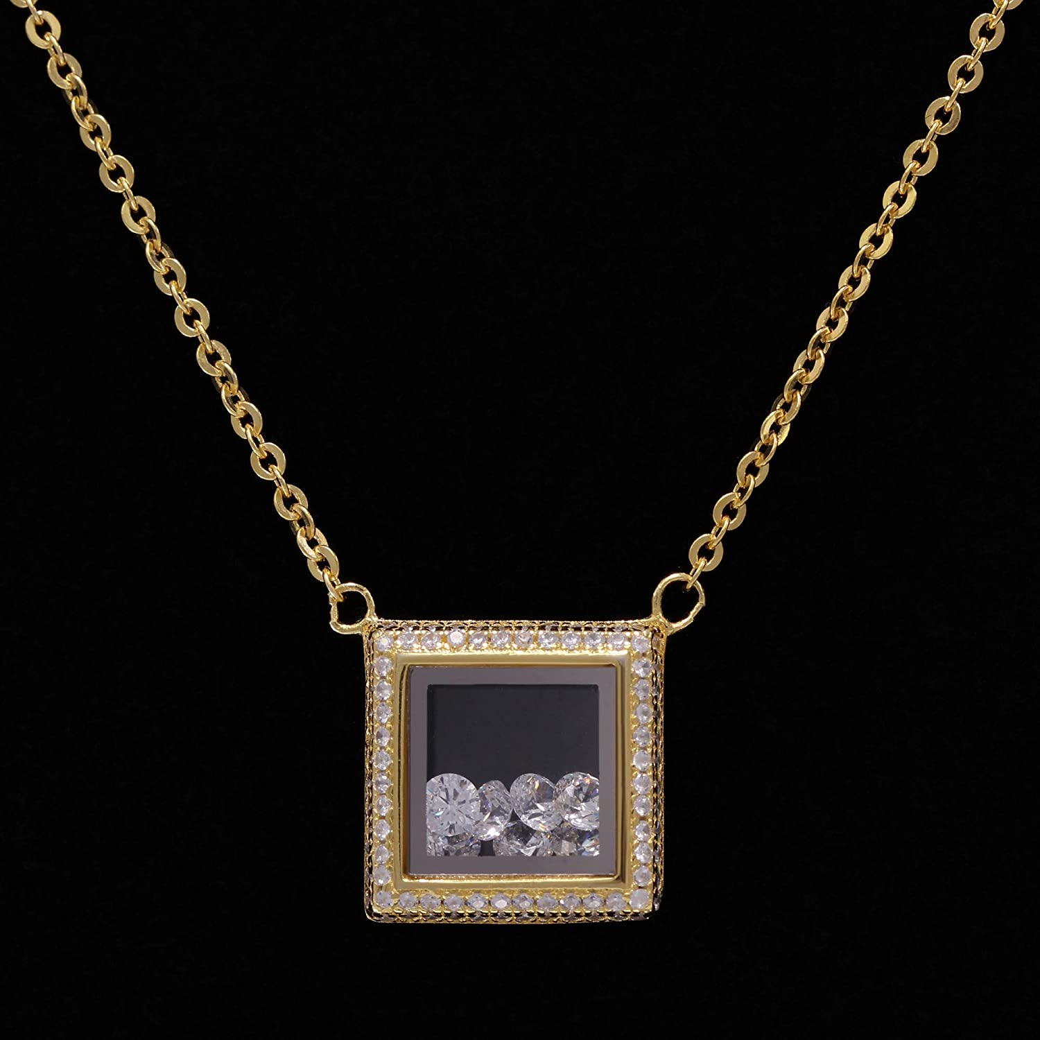 EV9-9041 Fashion Square locket Glass Pendant Necklace with Loose Crystals inside in Sterling Silver Evan Jewels