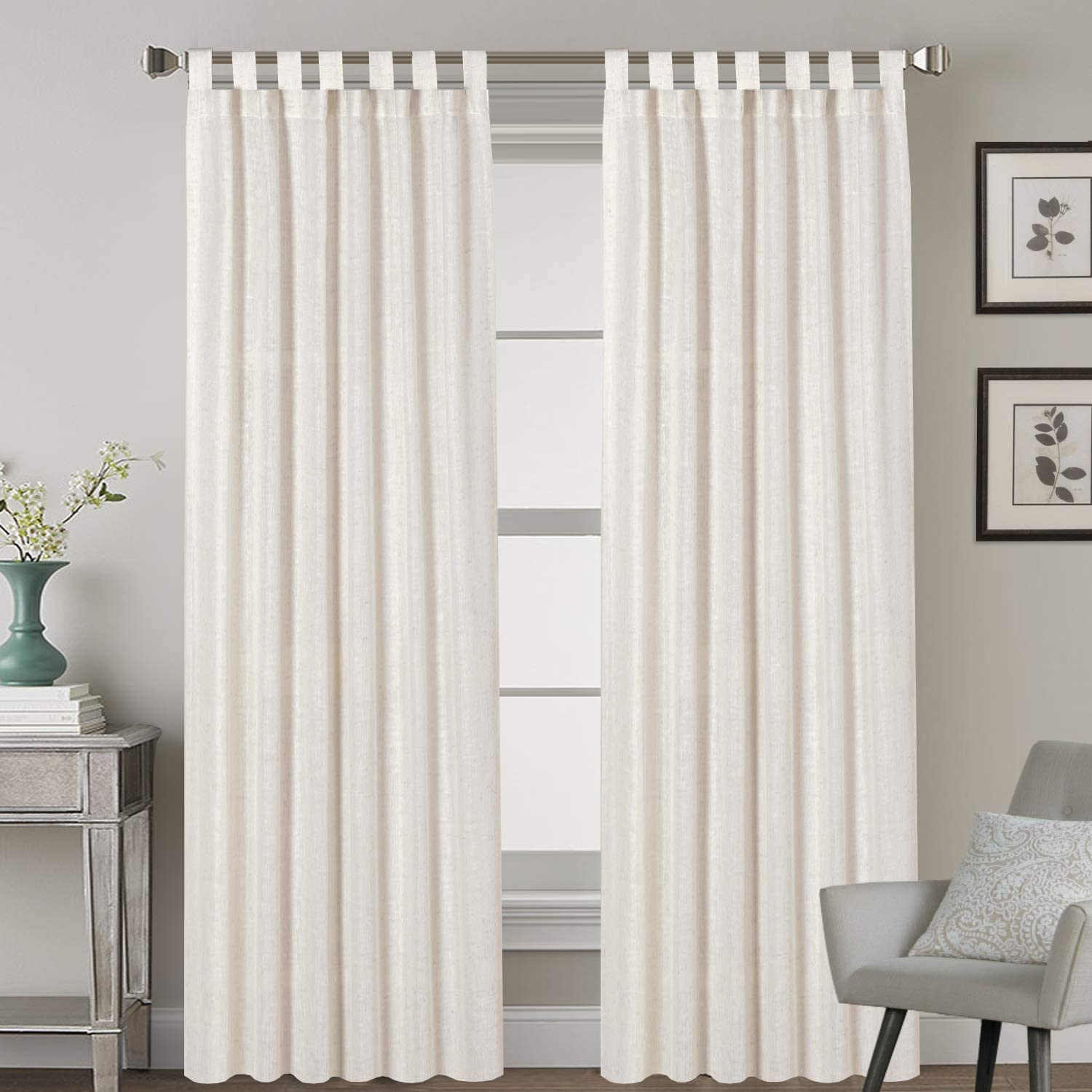 Tab Top Natural Linen Blended Airy Curtains for Living Room Home Decor Soft Rich Material Light Reducing Bedroom Drape Panels, Set of 2, 52 x 84 -Inch - Natural Pattern