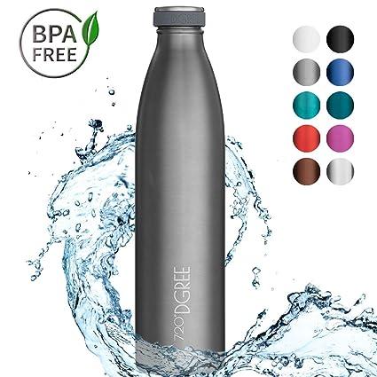 720°DGREE Botella Agua Acero Inoxidable milkyBottle – 1 Litro, 1l, 1000ml, Gris | Novedoso Antigoteo con Termo de vacío térmico termica Beber en el ...