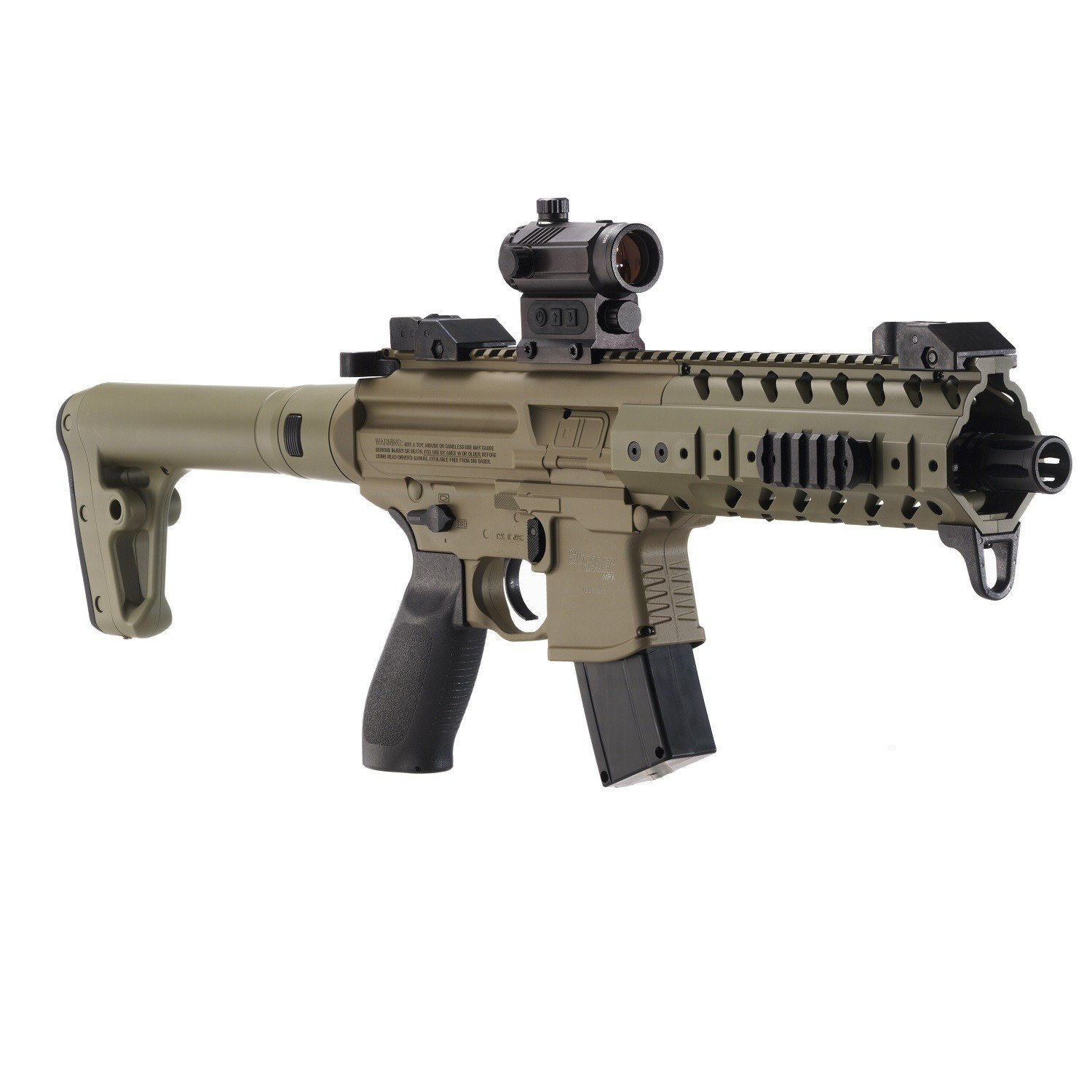 Sig Sauer MPX .177 CAL Co2 Powered (30 Rounds) SIG20R Red Dot Air Rifle, Flat Dark Earth