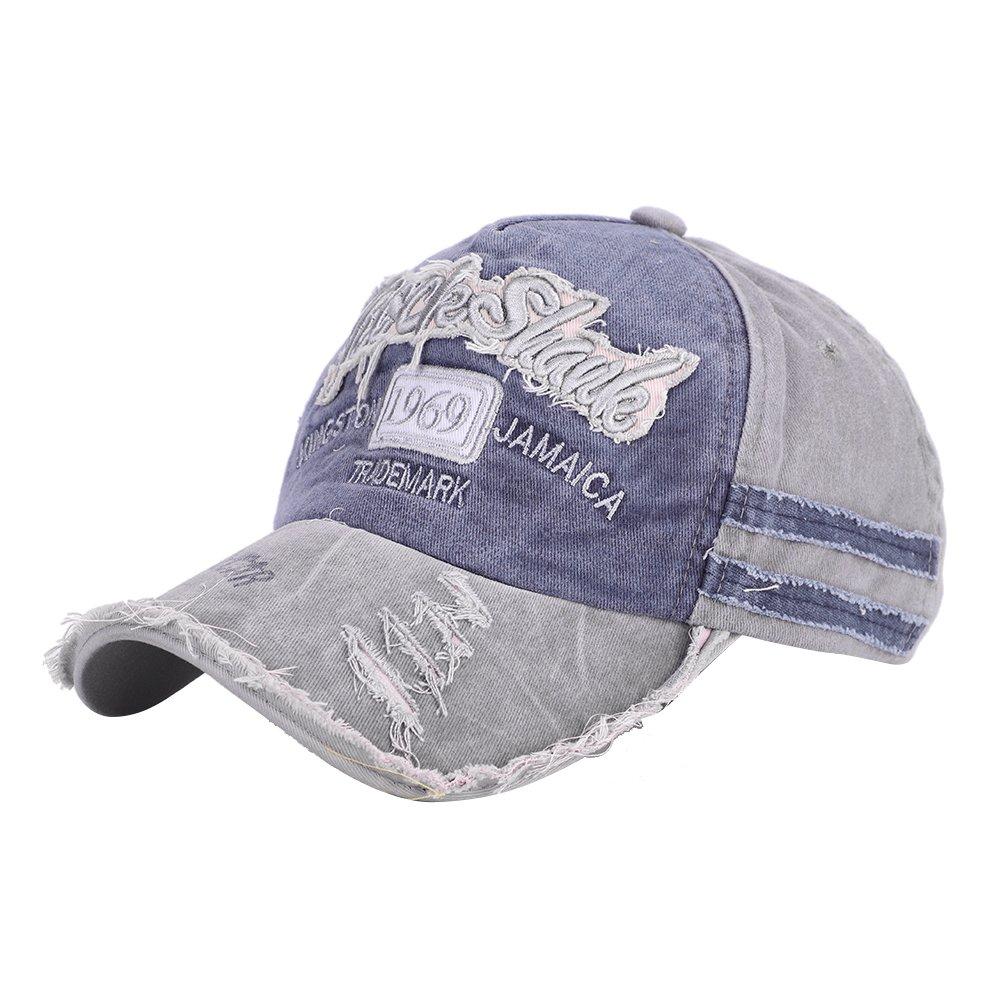 ITODA ウォッシュ加工野球帽 帽子 レディース メンズ コットン 日除けつば保護 未構築 通気性キャップ 調節可能なバックルストラップ付き 春夏用   B07Q56W4NJ