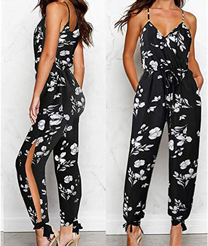 2019 Summer Women Casual Sleeveless V-Neck Jumpsuits Fashion Ladies Boho Floral Bodysuit