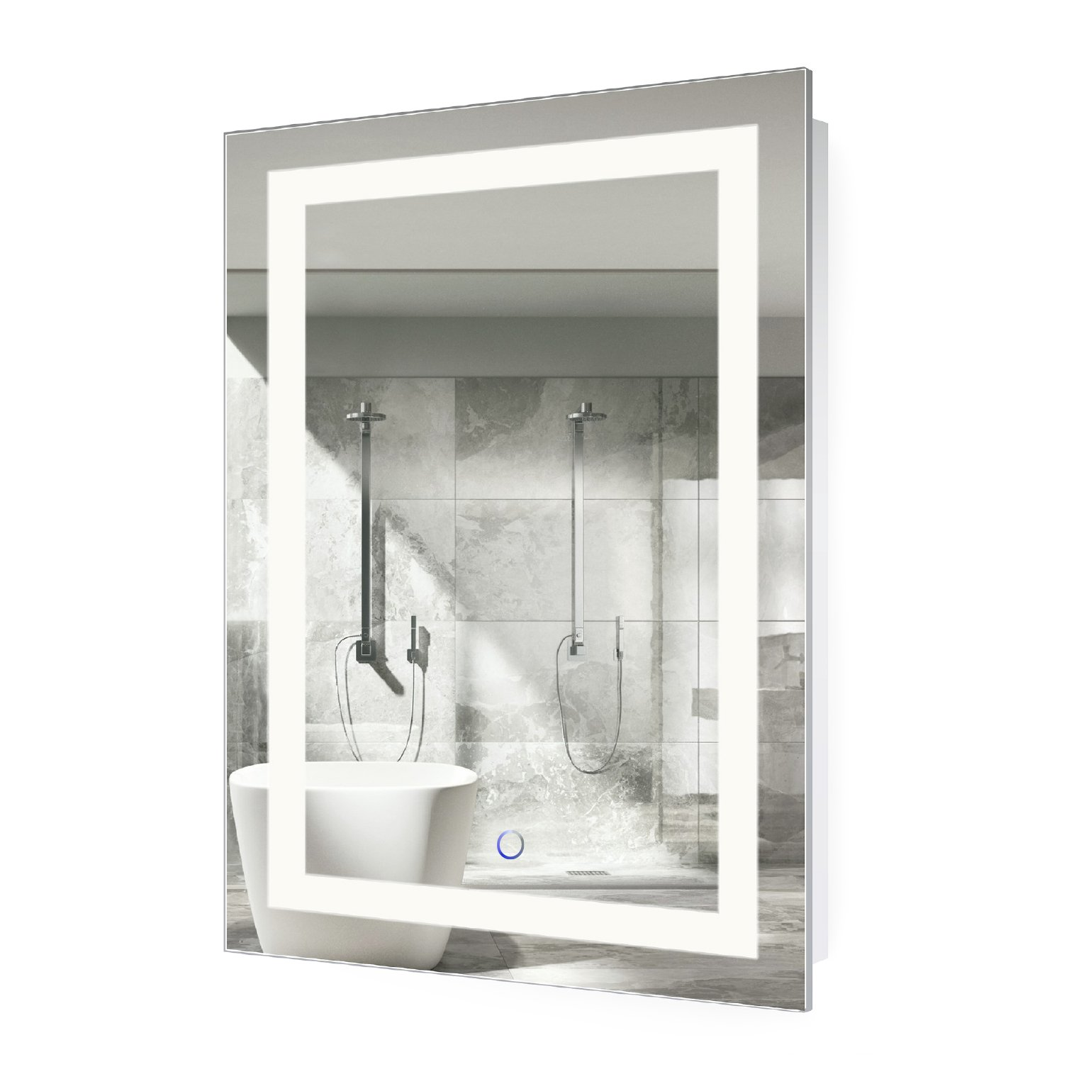 LED Bathroom Mirror 24 Inch X 36 Inch | Lighted Vanity Mirror Includes Defogger & Dimmer| Wall Mount Vertical or Horizontal by Krugg
