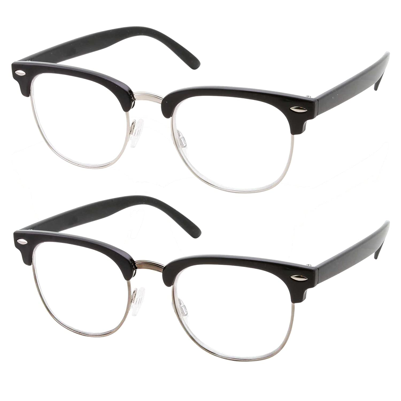 54078db489c Amazon.com  2 Pack Bulk Multi Focus Half Frame 3 Power Progressive Reading  Glasses - Anti-Reflective Coated (2 Pack Black