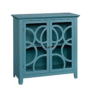 "Sauder 420272 Shoal Creek Elise Display Cabinet, L: 35.98"" x W: 15.75"" x H: 35.95"", Moody Blue finish"