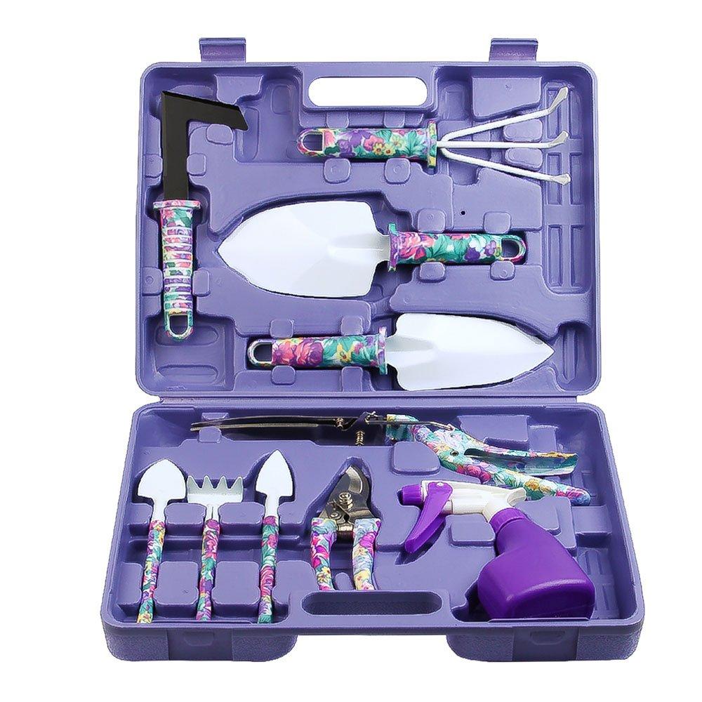 Vanshi Gardening Tools, 10pcs Garden Tools Set Includes Trowel Rake Weeder Pruner Shears Sprayer, Garden Hand Tools with Carrying Case Purple Floral Gardening Gifts for Women
