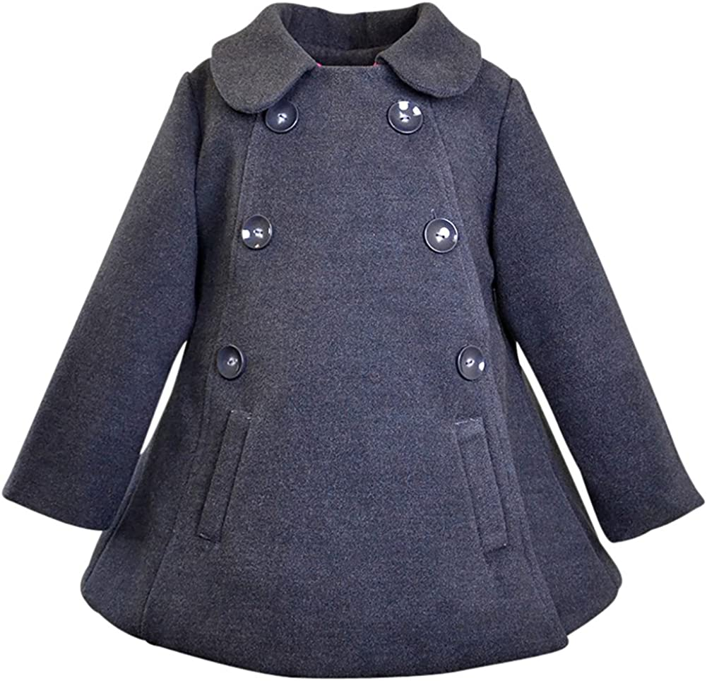 Widgeon American Double Breasted A-Line Coat Kids Size 7 Charcoal