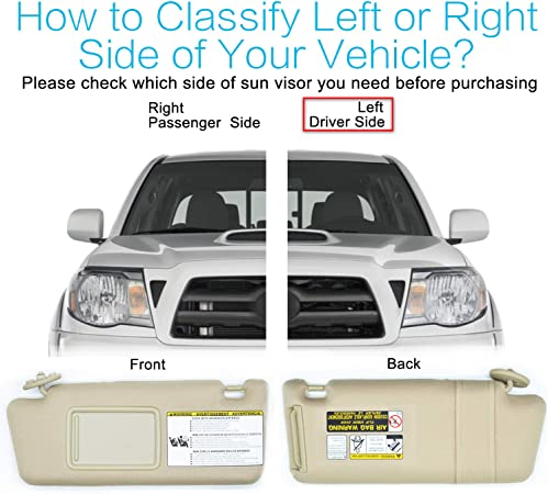 2012 2011 2006 2008 74320-04181-E1 Compatible with Toyota Tacoma 2005 74320-AD060-E0 2010 2009 2007 Left Driver Side Sun Visor Beige Without Light Replaces 74320-04180-E1
