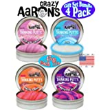 Crazy Aaron's Putty Mini Tins (.47oz Each) Neon Flash, Love is in The Air, Amethyst Blush & Ion Gift Set Bundle - 4 Pack