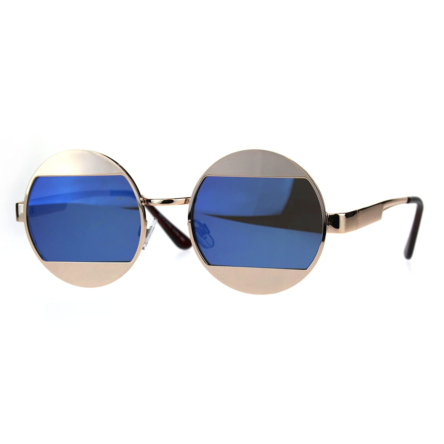 1945e47ac0bc7 Amazon.com  Cropped Color Mirror Lens Round Circle Hippie Metal Sunglasses  Gold Blue  Clothing