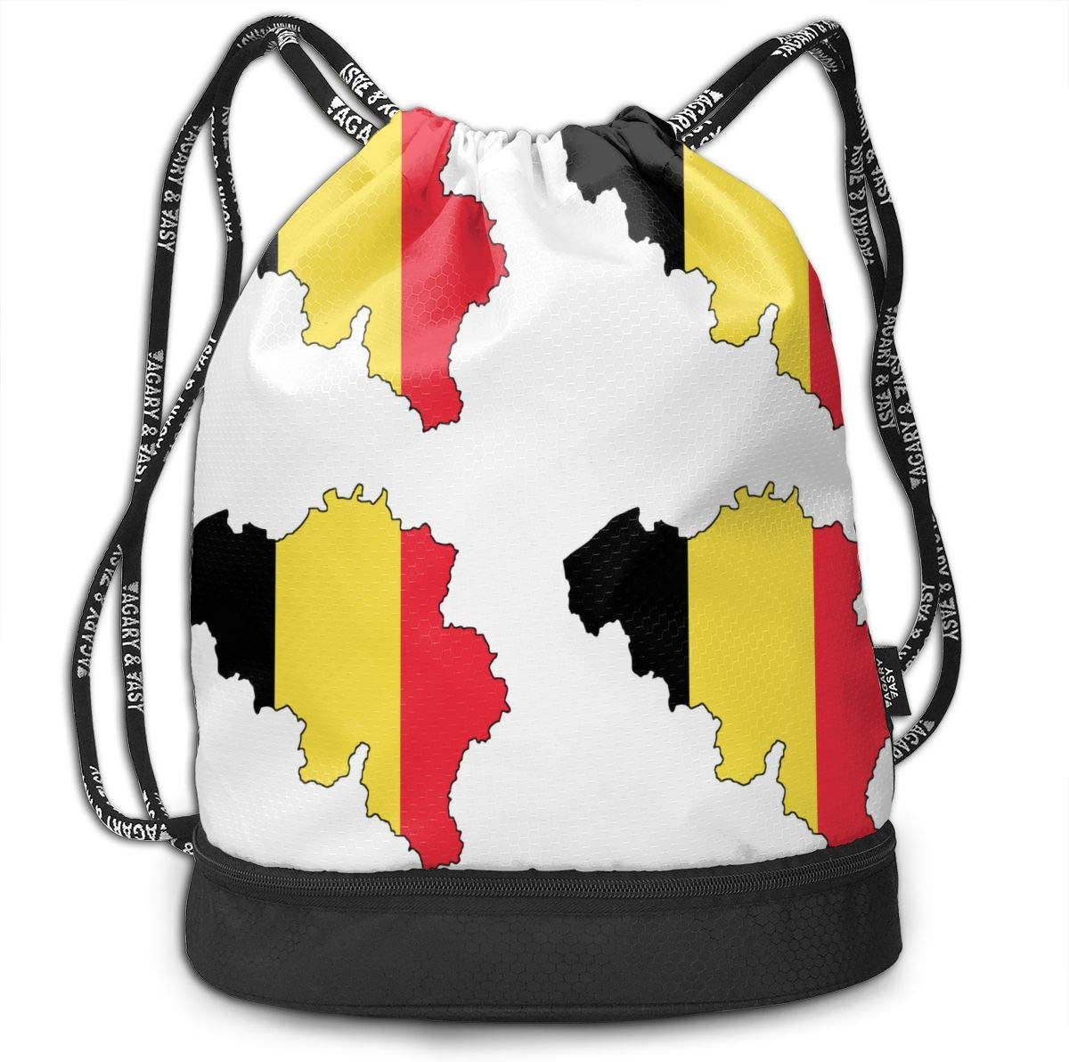 Drawstring Backpack Belgian Flag Map Rucksack