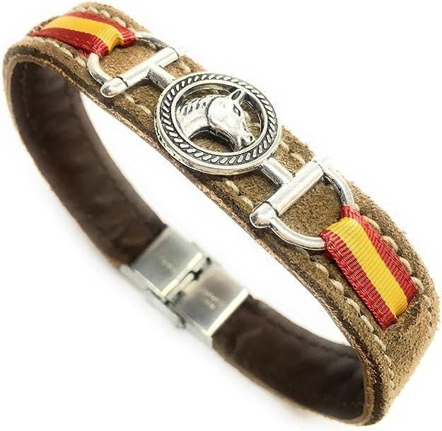 YOJAN PIEL Pulsera de Cuero marrón Detalle Caballo y Bandera españa (Cierre De Seguridad): Amazon.es: Joyería