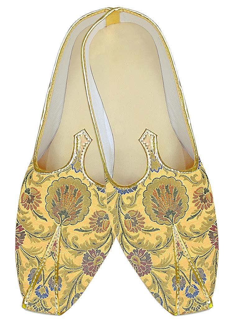 INMONARCH Amarillo Kheenkhap Hombres Zapatos de Boda Tradicional MJ18419 38.5 EU