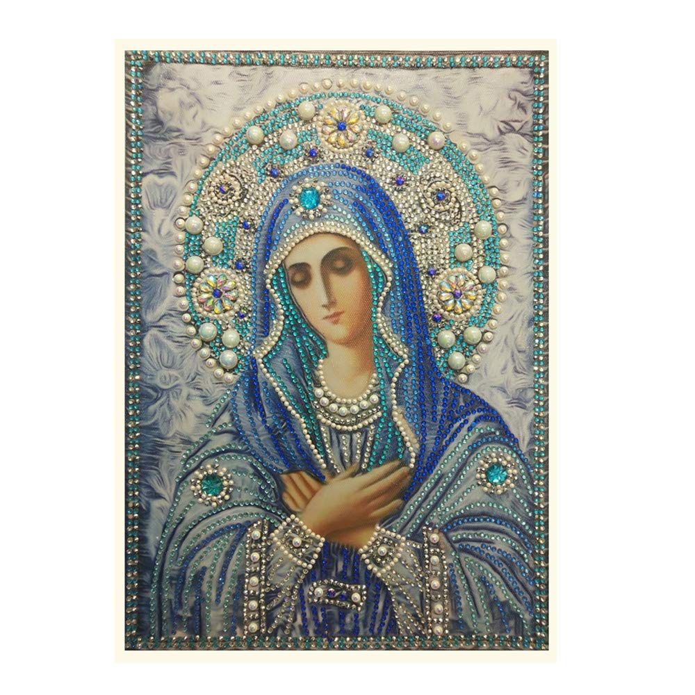 The Virgin Mary 5D Diamond Painting Kits Special Shaped Rhinestone Pasted DIY Embroidery Kits Diamond Art Crafts for Home Wall Decor Kids Adults Handcrafts Mumustar